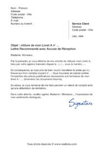 lettre de résiliation livret a