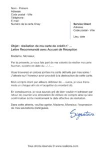 lettre de résiliation oney