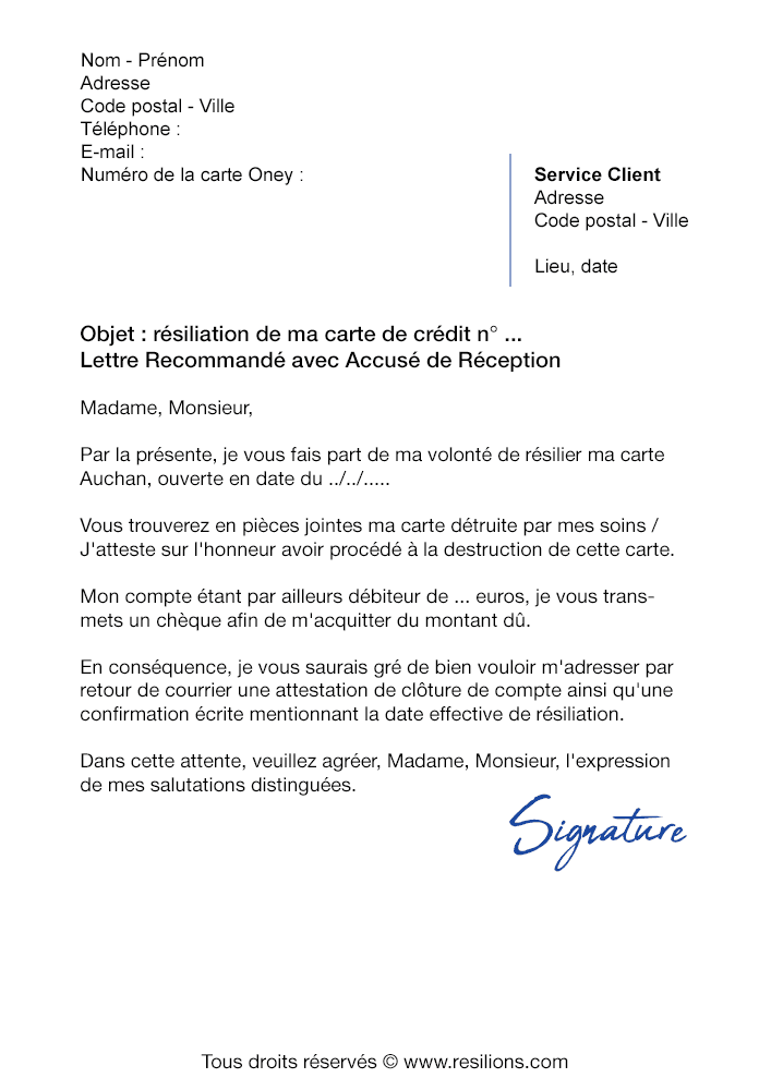 modele lettre resiliation carte oney Lettre de résiliation Oney (Carte de Crédit)   Modèle gratuit PDF