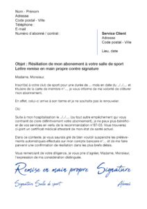 lettre de résiliation salle de sport avec remise en main propre