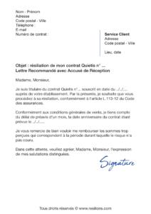 lettre de résiliation société générale quietis
