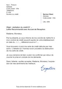 lettre de résiliation sofinco