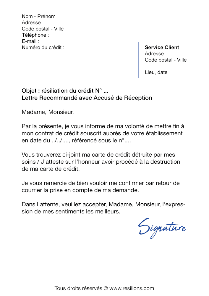 Lettre De Resiliation Sofinco Credit A La Consommation Modele Gratuit
