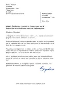 lettre de résiliation assurance vie la banque postale