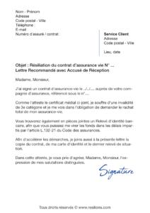 lettre de résiliation assurance vie maaf