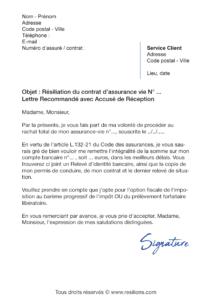 lettre de résiliation assurance vie maif