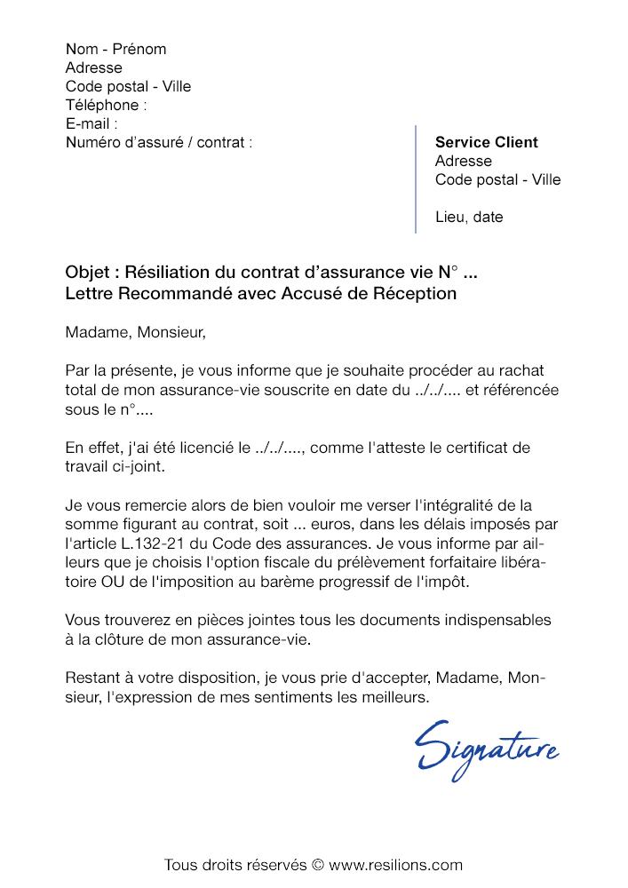 Lettre de résiliation Assurance Vie Société Générale - Modèle gratuit