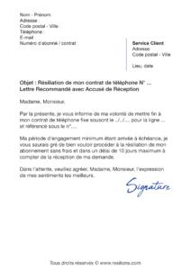 lettre de résiliation bouygues telecom ligne fixe