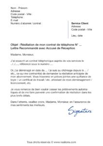lettre de résiliation téléphone fixe avant échéance