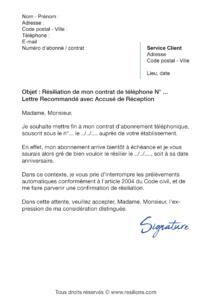 lettre de résiliation téléphone mobile à échéance