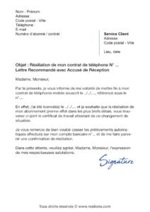 lettre de résiliation téléphone mobile avant écheance