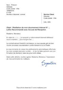 lettre de résiliation abonnement internet à échéance