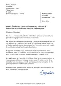 lettre de résiliation abonnement internet avant échéance