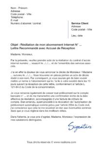 lettre de résiliation abonnement internet suite à un décès