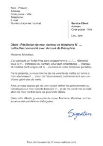 lettre de résiliation free mobile