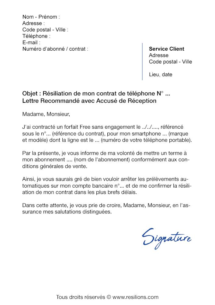 lettre de r u00e9siliation free  forfait mobile