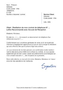 lettre de résiliation orange ligne fixe