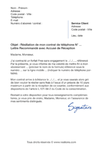 lettre de résiliation orange mobile