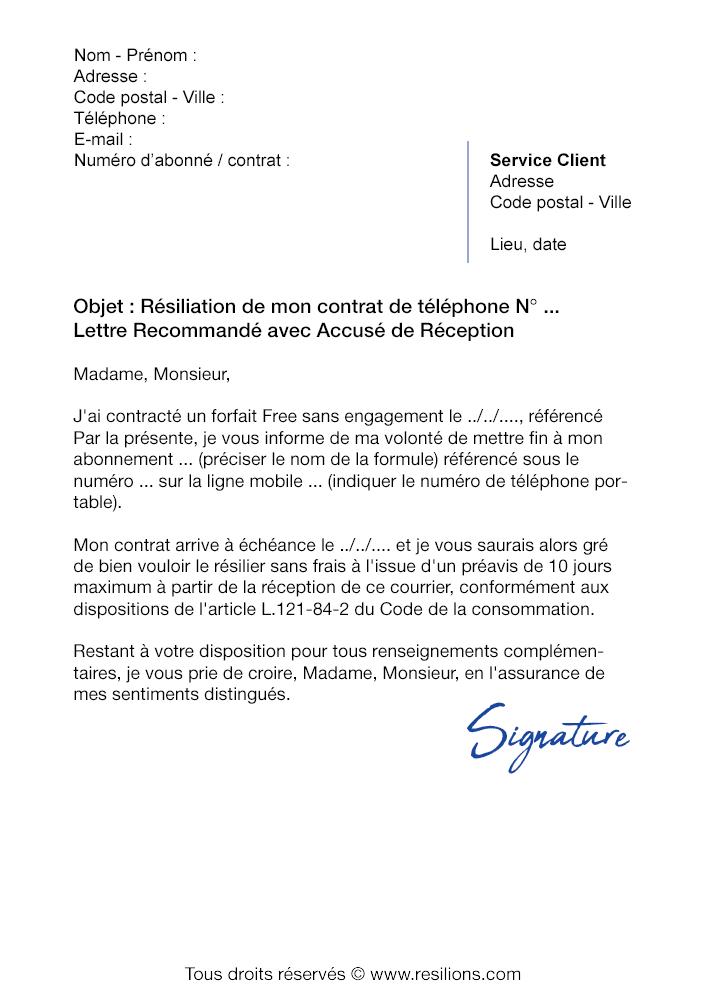 lettre de r u00e9siliation orange  forfait mobile