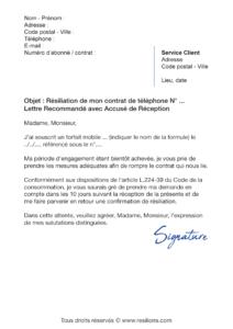 lettre de résiliation sfr mobile
