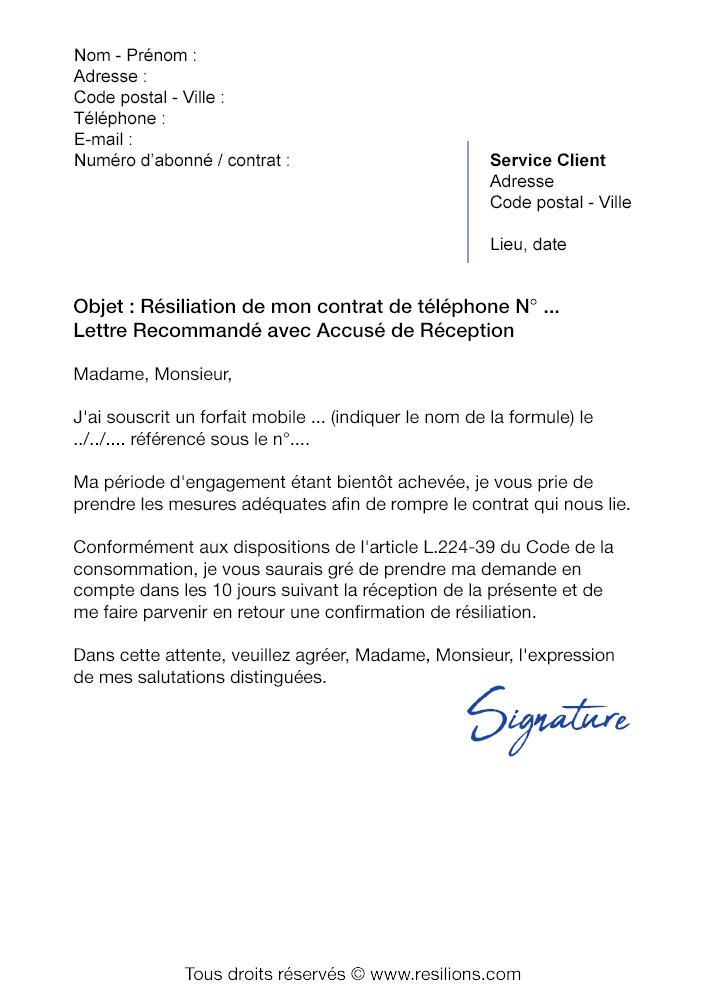 lettre de r u00e9siliation sfr  forfait mobile