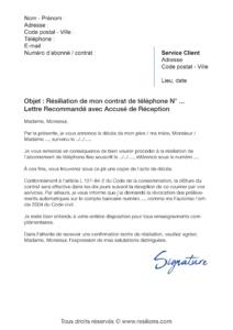 lettre de résiliation téléphone fixe suite à un décès