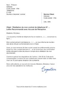 lettre de résiliation téléphone fixe et mobile avec la loi chatel