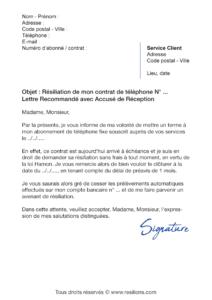 lettre de résiliation téléphone fixe et mobile avec la loi hamon