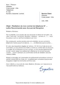 lettre de résiliation téléphone mobile suite à un décès
