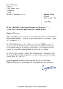 lettre de résiliation abonnement internet suite à un déménagement