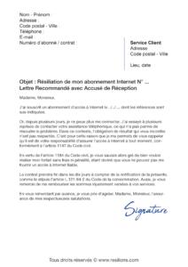 lettre de résiliation abonnement internet suite à un dysfonctionnement