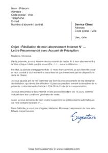 lettre de résiliation abonnement internet avec la loi chatel