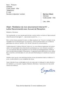 lettre de résiliation abonnement internet sans engagement