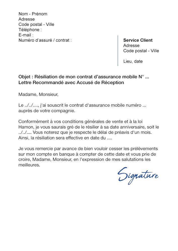 lettre de r u00e9siliation assurance mobile ace