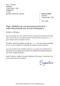 lettre de résiliation bouygues telecom bbox