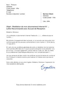 lettre de résiliation free freebox