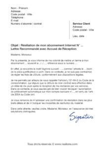 lettre de résiliation numericable box internet