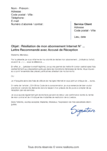 lettre de résiliation orange livebox