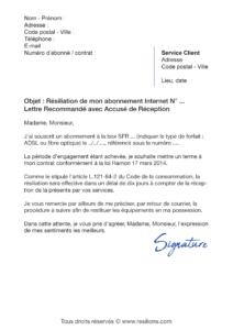 lettre de résiliation sfr box