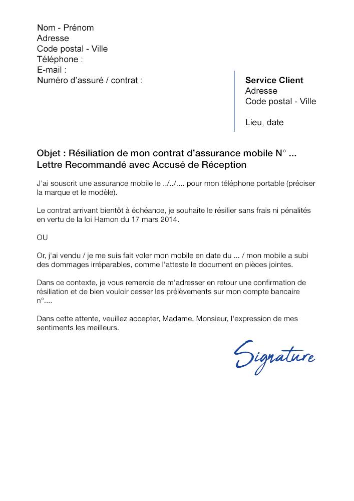Lettre de résiliation Assurance Mobile La Poste - Modèle PDF et Word