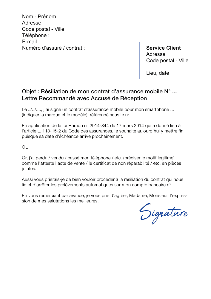 Lettre de résiliation Assurance Mobile SFAM - Modèle PDF et Word