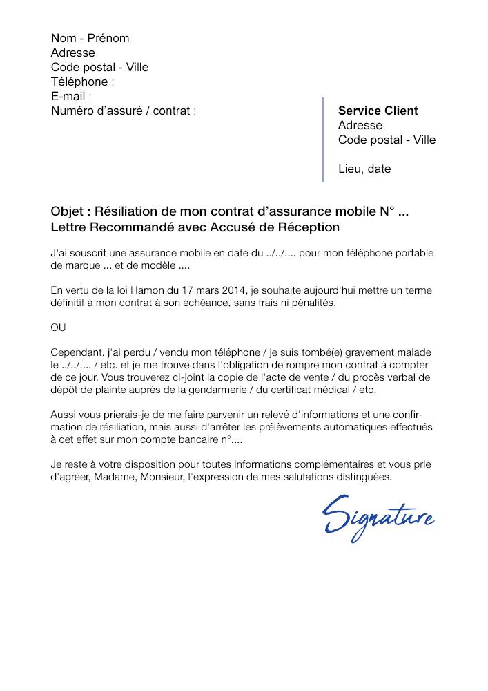 Lettre de résiliation Assurance Mobile SFR - Modèle PDF et Word