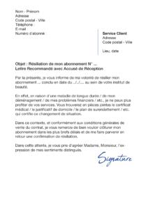 lettre de résiliation bellagio
