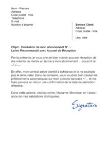 lettre de résiliation citron vert