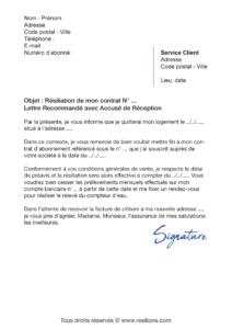 lettre de résiliation contrat eau (service des eaux)