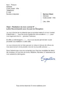 lettre de résiliation contrat électricité