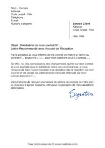lettre de résiliation contrat gaz