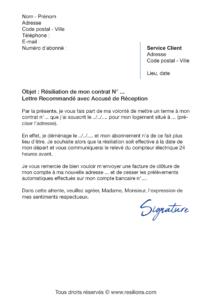 lettre de résiliation EDF gaz
