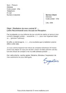 lettre de résiliation ENGIE électricité