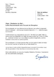 lettre de résiliation bail 1 mois de préavis